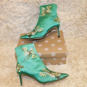 Zara Pointed Toe Floral Embroidered Ankle Boots